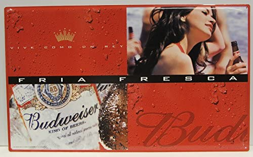 07902b5a8b36 Amazon.com  Budweiser Beer Metal Sign bottle and girl partying Spanish  version  Home   Kitchen