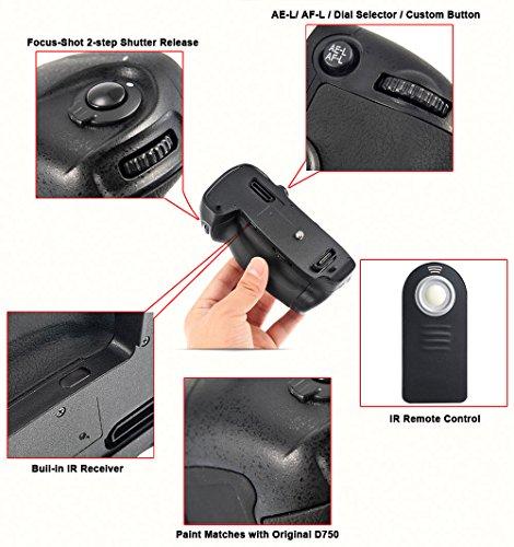 SeresRoad Multi Power Battery Grip Replacement MB-D16 DSLR Camera Grip for Nikon D750 EN-EL15 Battery Holder Grip + IR Remote Control