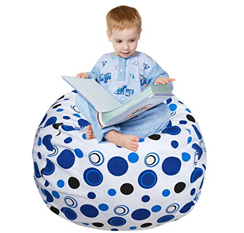 EDCMaker Kids Comfy Chair Cover, Perfect for Storing Stuffed Animals, Clean Up Your Room And Play Area, Fashion Blue Polka-Dot Design - 38'' by EDCMaker