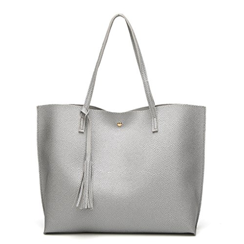 Leather Bag Women Shoulder Color Solid Tassel Pu Lady Female Silver Capacity Large Bags Bobury Tote Crossbody q0IEHw6H