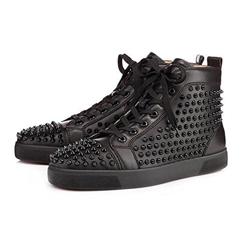 Moda Nero Rivet Uomini Cuckoo Hightop Gli Stivali di Sneakers Scarpe qOUXvAwX