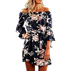 SVALIY Women Off Shoulder Ruffles Floral Tunic Casual Party Shift Short Dress Navy M