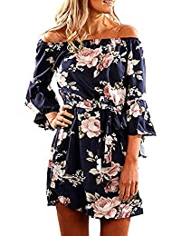 Women Off Shoulder Ruffles Floral Tunic Casual Party Shift Short Dress