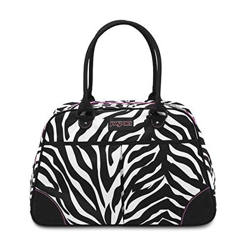 Pink Miss Zebra - Jansport - Medium Duffel Bag, Size: O/S, Color: Black/White/Fluorescent Pink Miss Zebra