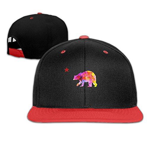 Hip Hop Baseball Cap California Colored Bear Star Flat Hat For Boys Girl by Oopp Jfhg