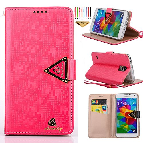 S5 Case, Galaxy S5 Case, Dteck(TM) Simple Elegant Shinning Diamond Pattern Premium Leather Flip Stand Case Magnetic Wallet Case with Hand Strap for Samsung Galaxy S5 i9600 (04 Shinning Rose)