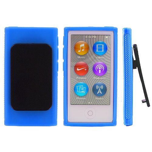 ANiceSeller(TM) Color TPU Rubber Skin Case Cover with Belt Clip for iPod Nano 7th Gen 7 7G (Blue)