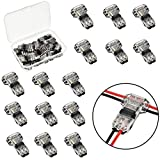 Tatuo 15 Pieces of 2 Pin 2 Way Wire Connectors Low Voltage Universal Compact Wire Connectors without Wire-Stripping for 18-22 AWG Cable, T Tape