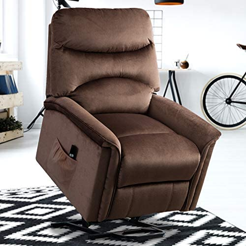 GOOD GRACIOUS Lift Chair,Electric Power Recliner with Remote Control for Elderly,Heavy Duty and Soft Fabric Sofa for Living Room,3 Position, Dark Brown