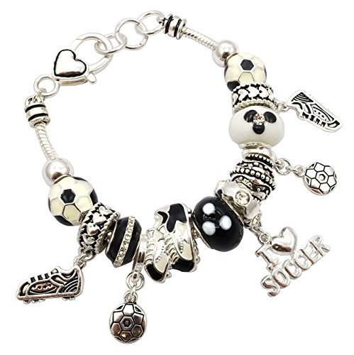 Soccer Theme Murano Glass Bead Charm Bracelet 7.5