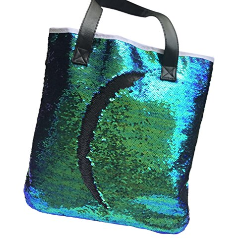 HENGSONG Sequins Mermaid Sequins Glitter Shoulder Bag Retro Tote Handbag (Black)