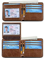 BOSTANTEN Genuine Leather Wallets for Men Slim Front Pocket Bifold RFID Blocking Wallet with ID Window
