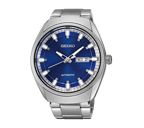 Seiko-Mens-Silvertone-Blue-Dial-Automatic-Calendar-Watch