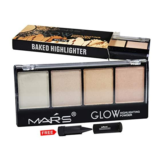 Kiss Beauty Adbeni Mars Glow Highlighter Powder Palette 9466B with Adbeni Kajal