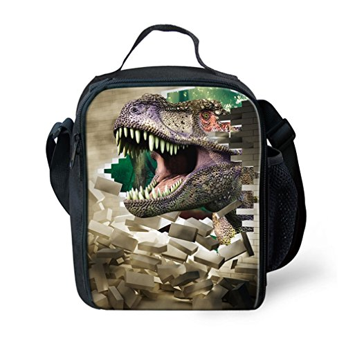 KIds Insulated Reusable Lunch Bags For Food Children 3D Dinosaur Lunch Box Warmer With Shoulder Adjustable Strap