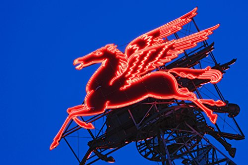 Neon Pegasus Sign Under Dusk Sky Magnolia Building Dallas Texas Photo Art Print Poster 18x12 inch