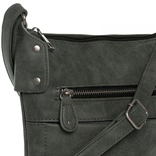 Caspar TS1010mujeres bolsa de hombro negro