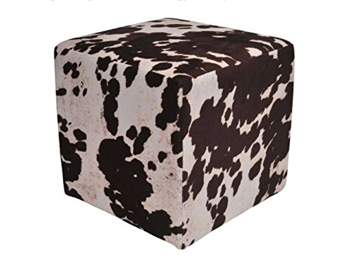 Urban Shop Cow Print Square Pouf, Brown Splatter, Brown (Print Ottoman Cow)