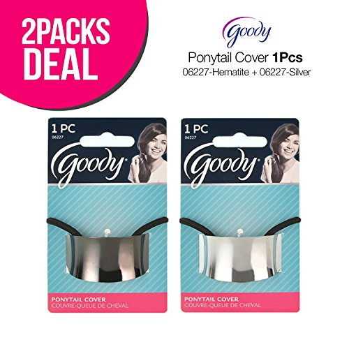 2-Pack! Goody Ponytail Cover (2-Color Set) (2-PACK (Hematite+Silver)) ()