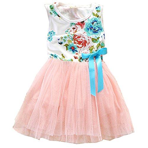 (RJXDLT Little Girls Sleeveless Floral Princess Dress Lace Tulle Tutu Dresses Sundress 3 Years Pink)