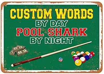 Sar54ryld Letrero de Metal con Palabras Personalizadas por el día, tiburón de la Piscina por la Noche: Amazon.es: Hogar