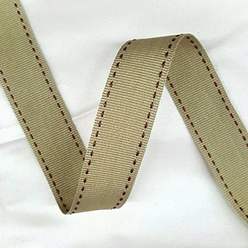 (1'' Wide Rayon Candied Ginger with Brown Stitched on Both side Grosgrain Ribbon, gift wrapping and craft making ribbon Selling Per Roll/30 Yards )