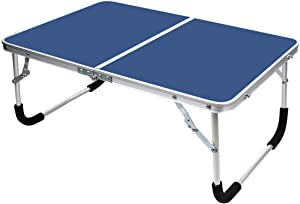 YOLER Laptop Table for Bed, Lap Desks Bed Trays for Eating, Computer Tray for Bed, Bed Desk for Laptop and Writing, Portable Folding Aluminum Mini Camp Table with Carry Handle 24''x 16''x 11'' (Blue)