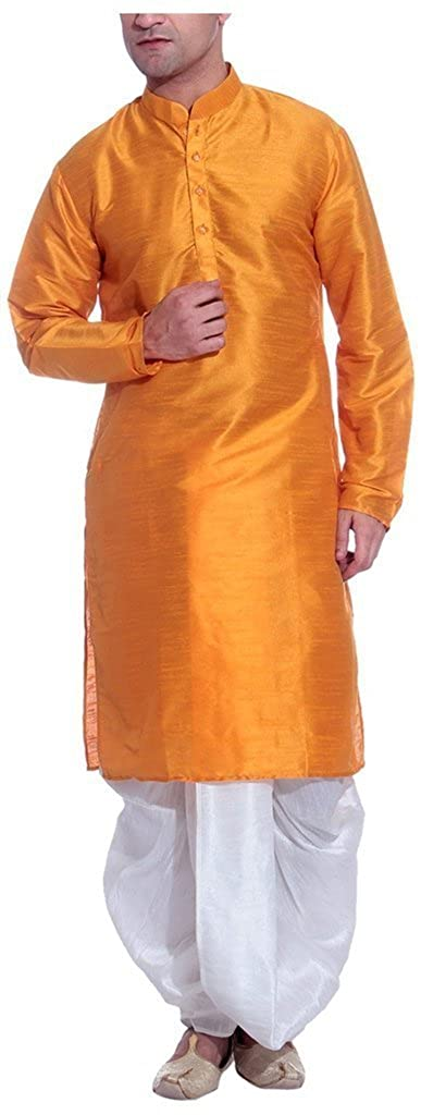 Royal Men's Silk Blend Dhoti & Kurta Set_Orange ROYAL-217-ORANGE-WHITE-42W