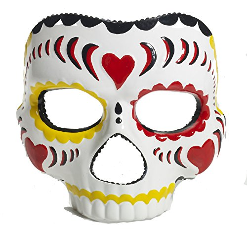 [70470 (Female) Day Of The Dead Mask Yellow Trim] (Day Of The Dead Female Mask)
