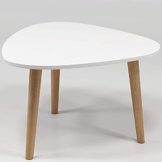 Mesita pequeña Pequeña mesa auxiliar blanca ensamblada, pequeña ...