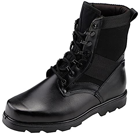 Aiyuda Men's Military Combat Work Boots Steel Toes Waterproof Leather Jungle Duty Winter Ankle Boot Black US 9.5