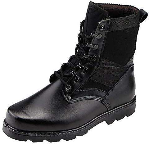 Aiyuda Men's Military Combat Work Boots Steel Toes Waterproof Leather