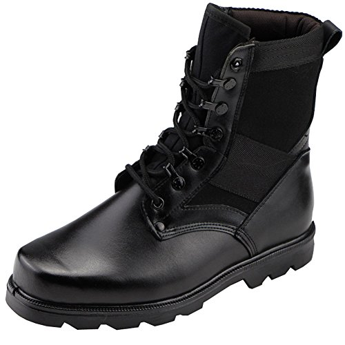 Aiyuda Men's Military Combat Work Boots Steel Toes Waterproof Leather Jungle Duty Winter Ankle Boot Black US 9.5 (Toe Jungle Steel)