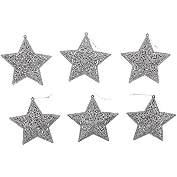 "Decorative Fancy Elegant Christmas Holiday Sparkling Shimmering Glitter 3D Star Ornaments, Silver, Medium, 5"" x 5"" x 1.5"""