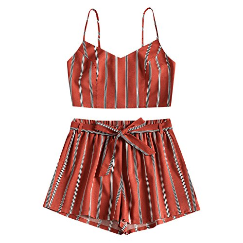 Belted Tankini (ZAFUL Women Bikini Set Cami Dots Stripe Shirred Top and Shorts Tankini Swimsuit Strap Smocked Slip Suit,Chestnut Red S)