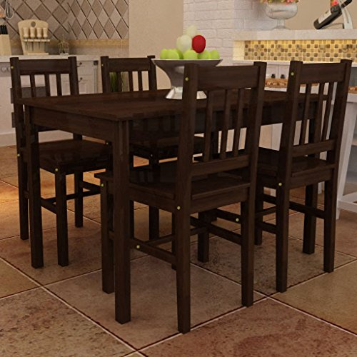 Festnight 5 Piece Dining Set Wooden Table with 4 Chairs Solid Pine Wood Kitchen Dining Room Set Breakfast Home Furniture