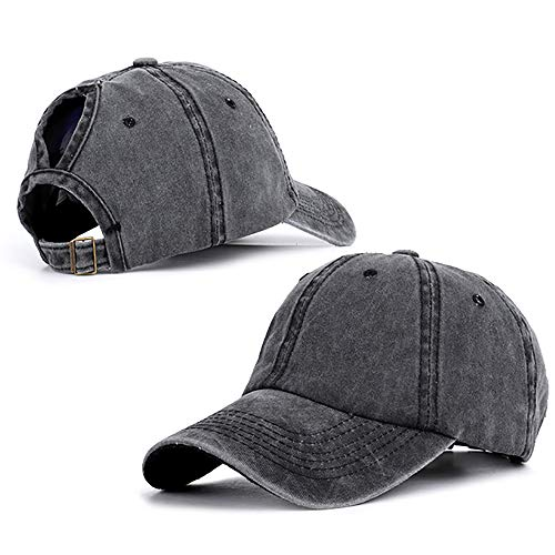 (Peicees Ponytail Unconstructed Washed Dad Hat UPF50+ Sun Cap Messy High Bun Ponycaps Plain Baseball Cap Peaked Cap with Curved Brim for Women Men Girls Boys)