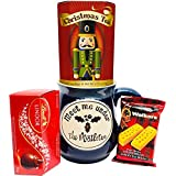 Small Christmas Gift Basket Christmas Mug - Gifts for Women - Gifts for Men - Lindor Chocolates, Walkers Shortbread Cookies and More (Blue)