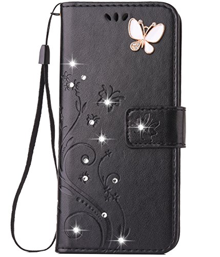 - Galaxy S9 Plus Case, Galaxy S9 Plus Wallet Case, Felico S9+ Bling Crystal Flip Case Emboss Butterfly Flower Handmade Folio Kickstand Cover with Card Slots for Samsung Galaxy S9 Plus 6.2 inch Black