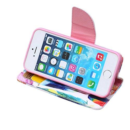 iPhone 5S Coque , iPhone 5s iPhone 5 Coque Lifetrut® [ plumes colorées ] [Béquille Feature] [Slim Fit] Prime PU Housse en cuir Flip Cover stand avec carte Slots étui en cuir Coque Etui pour iPhone 5s