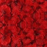 BESKIT 3000 Pieces Dark Red Silk Rose Petals Artificial Flower Petals for Valentine Day Wedding Flower Decoration