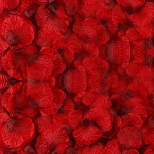 BESKIT 3000 Pieces Dark Red Silk Rose Petals Artificial Flower Petals for Wedding Confetti Flower Girl Bridal Shower Hotel Home Party Valentine Day Flower Decoration (Box Bouquet Rose Romantic)