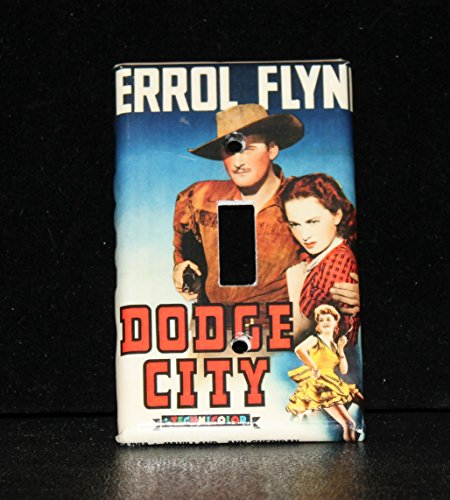 Errol Flynn Dodge City Switchplate Light Cover Classic Hollywood Olivia de Havilland Cowboy