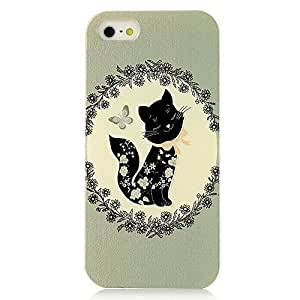 5s Case, iphone 5c &5s Case - Sunshine Case Fashion Style Colorful Painted Cat with Flowers Pattern TPU Soft Cover Case for iphone 5c &5s(Cat)