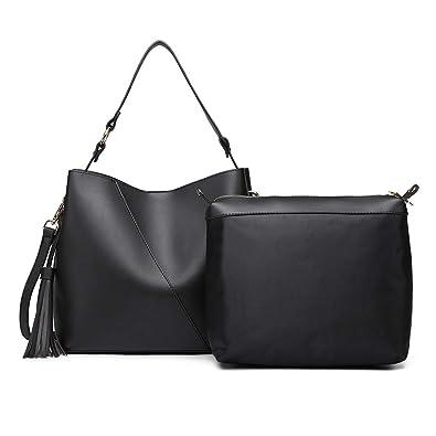 Miss Lulu Shoulder Bag Women Ladies Fashion Hobo Crossbody Bags Large  Handbag Purses 2 Set Faux 7520116a5c88a