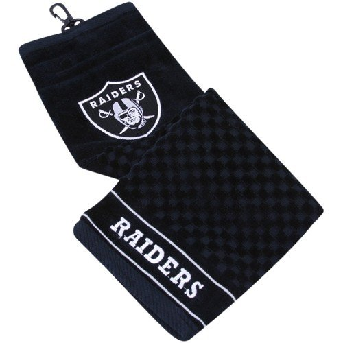 NFL Oakland Raiders Black Embroidered Team Logo Tri-Fold Towel by Team Golf