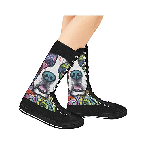 Leinterest Colorful Pug Canvas Botas Largas Para Mujeres