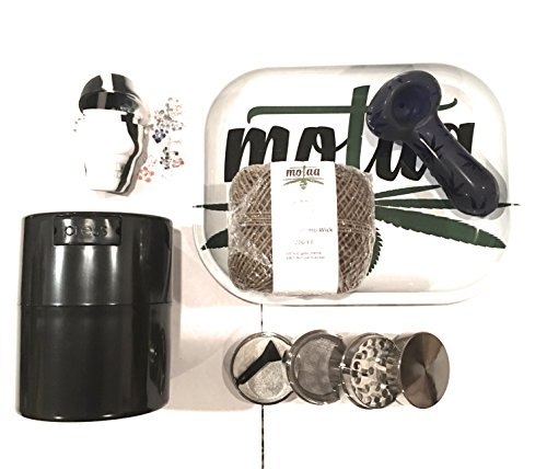 MOTAA Starter kit, 4 part spice grinder pollen catcher with airtight container, 200ft hemp wick, silicon skull with daisy screens + MOTAA Rolling Ash Tray (whitesilver)