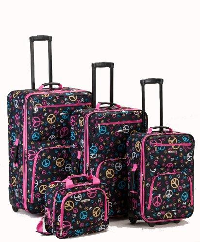 - Rockland Luggage 4 Piece Luggage Set, Peace, One Size