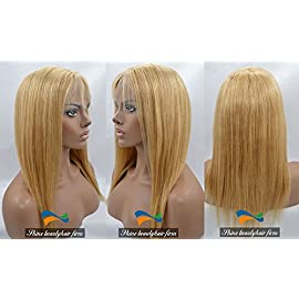 Honey Blonde Human Hair Glueless Full Lace Wig with Baby Hair Silky Straight Color 27# 130% density 14-24 inches (24 inch)